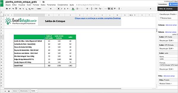 controle estoque - google sheets planilha online