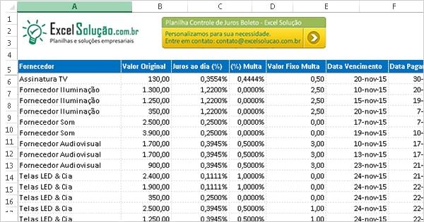Planilha Gratis Excel Controle Boletos Bancarios Vencidos Calcular Boleto Juros Multa