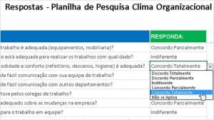 Planilah apoio resposats - Pesquisa de Clima Organizacional