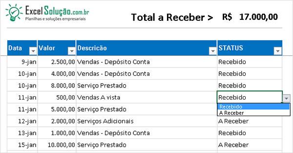 Planilha De Contas A Receber - Controle Financeiro Empresarial Gratis
