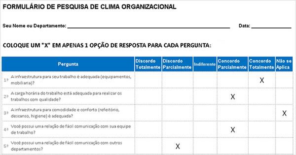 Planilha Questionário Clima Organizacional – Modelo De Pesquisa