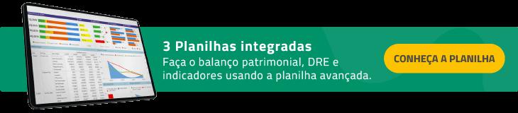 planilha balanco patrimonial + DRE + Indicadores financeiros