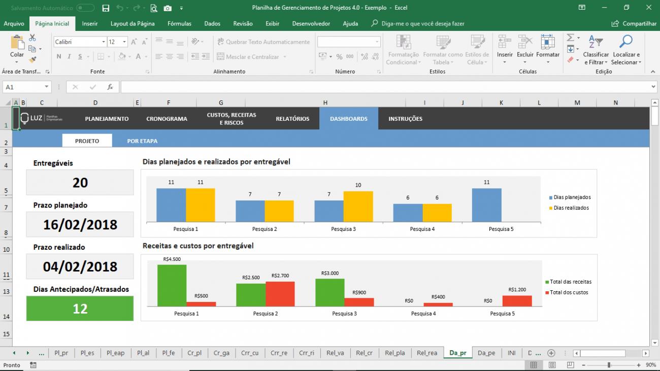 Planilha de Gerenciamento de Projetos em Excel com Gráfico de Gantt