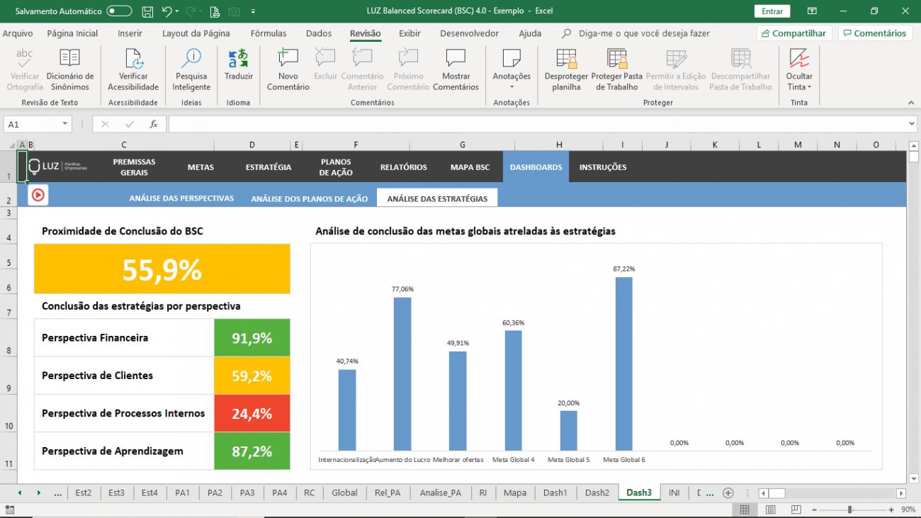 Planilha de Balanced Scorecard (BSC) - Mapa estratégico em Excel