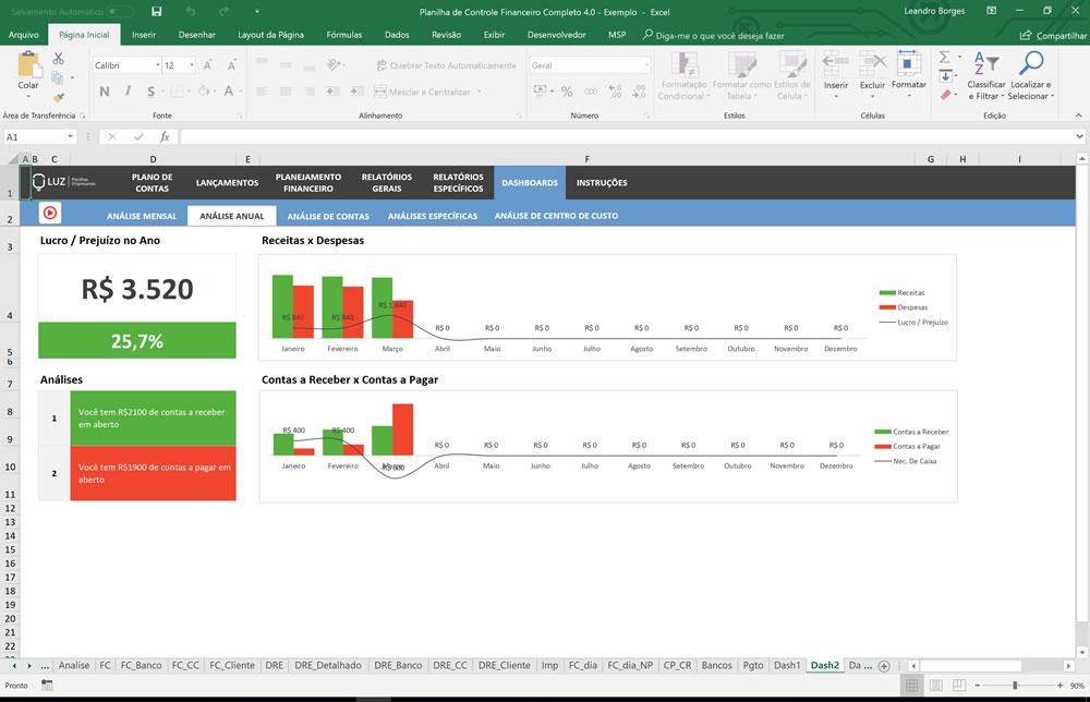 Planilha de Controle Financeiro Completo - Modelo pronto em Excel