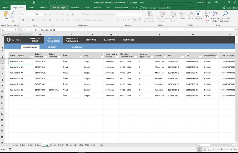 Planilha de Controle e Cadastro de Funcionários em Excel