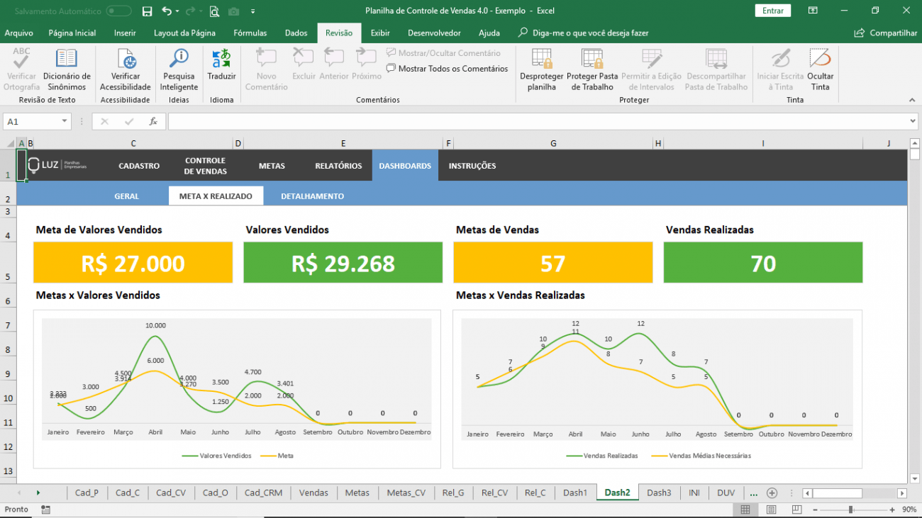 Planilha de Vendas em Excel - Acompanhamento e Controle