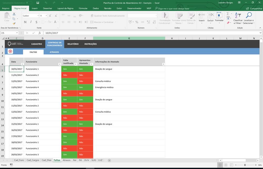 Planilha de Controle e Gestão de Absenteísmo em Excel