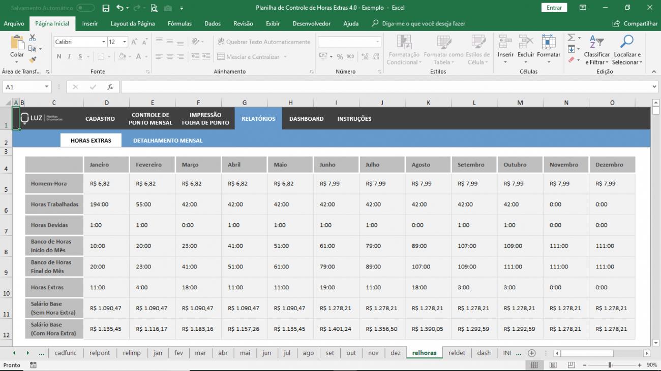 Planilha de Horas Extras com Banco de Horas em Excel
