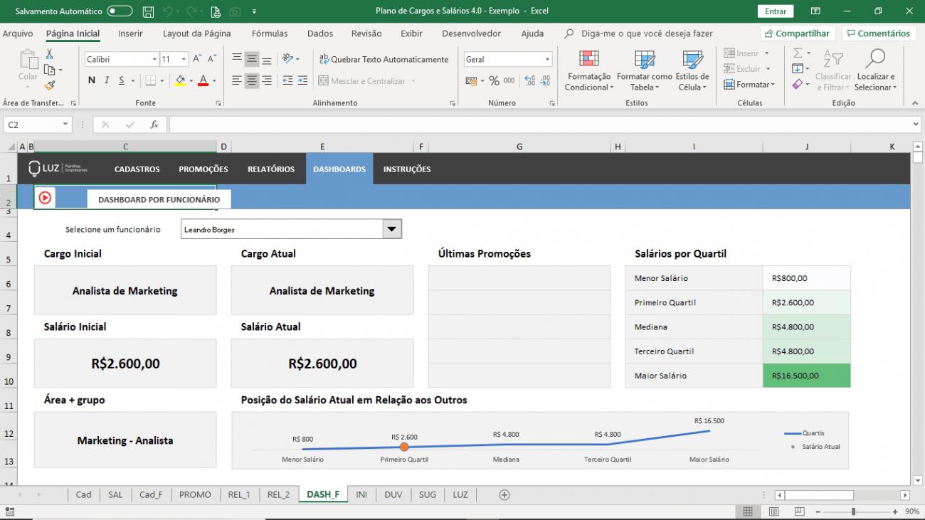 Planilha de Plano de Cargos e Salários em Excel - Gestão de Benefícios