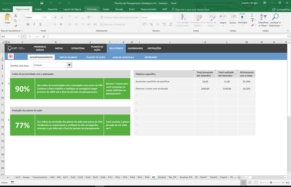 Planilha de Planejamento Estratégico pronto em Excel
