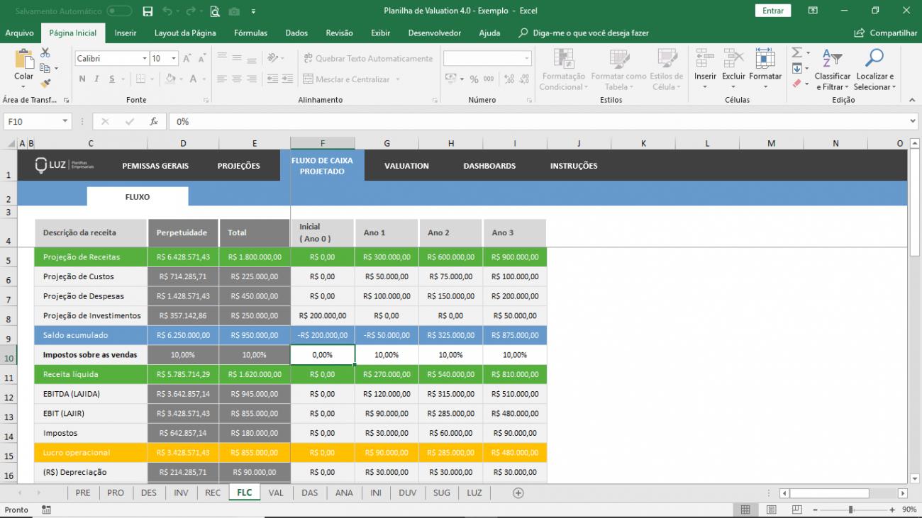 Planilha de Valuation - Gestão financeira em Excel