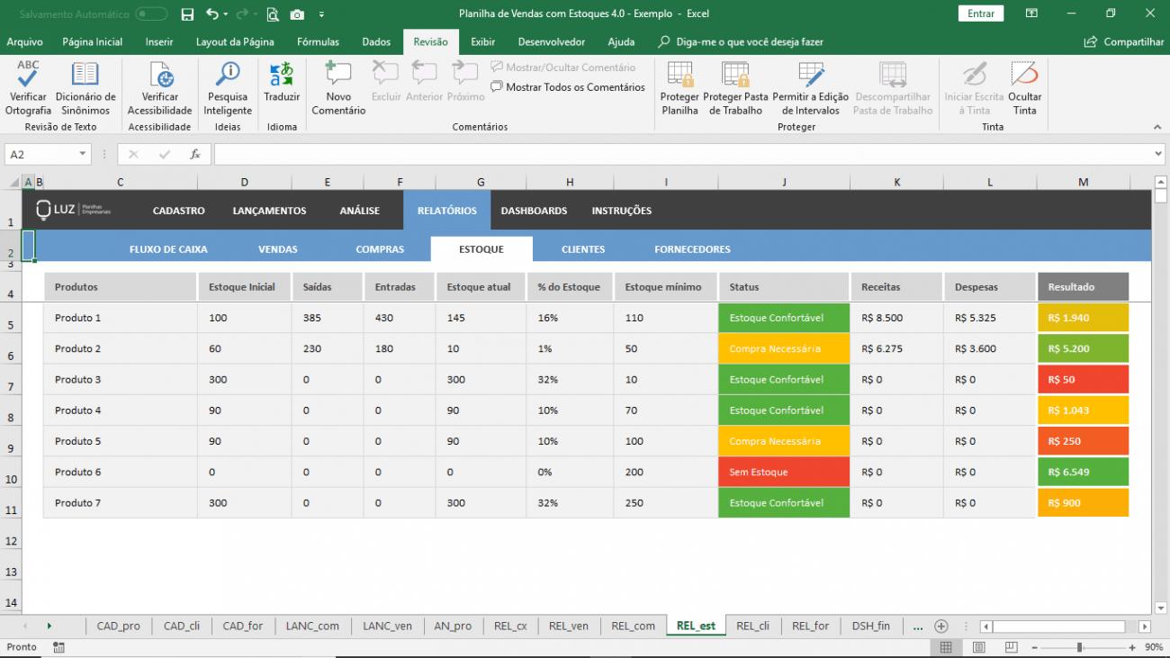 Planilha de Vendas e controle de Estoque em Excel
