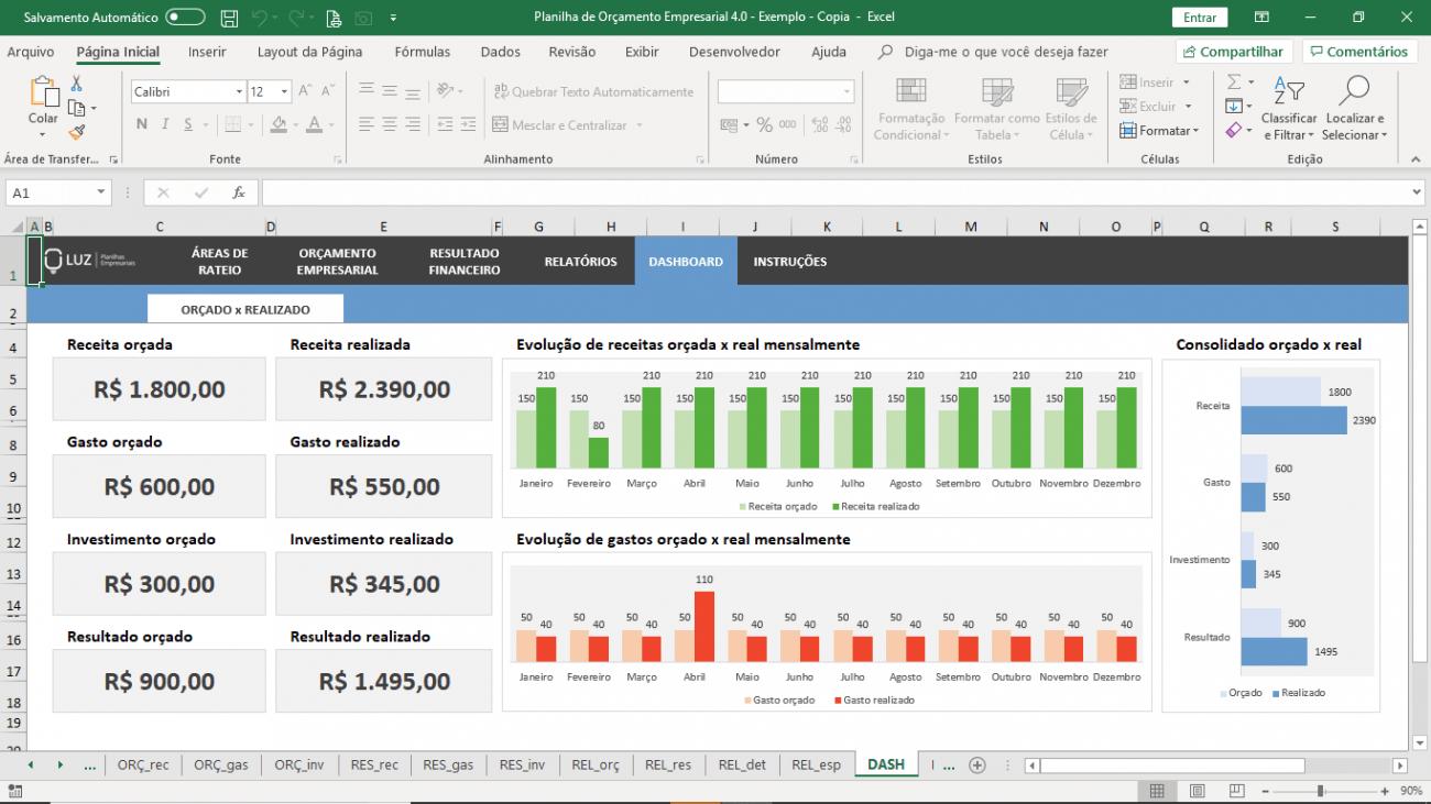 Planilha De Orçamento Empresarial Excel Dashboard