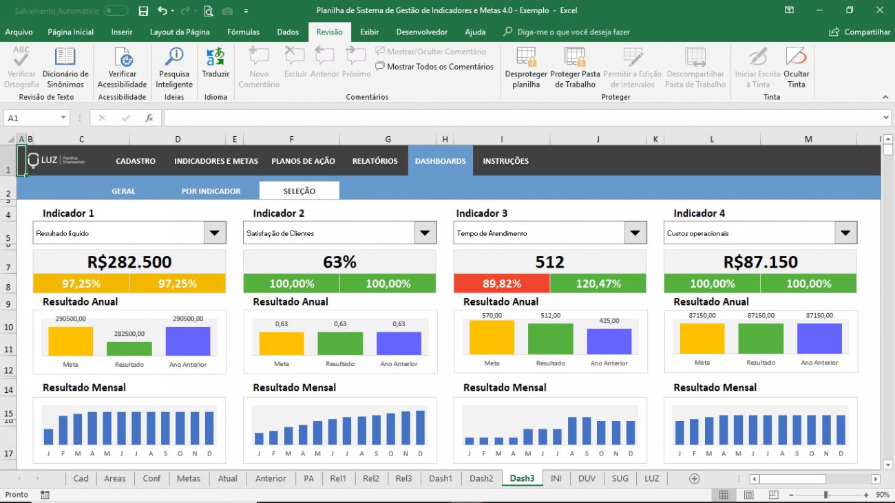 Planilha De Sistema De Gestão De Indicadores E Metas Em Excel