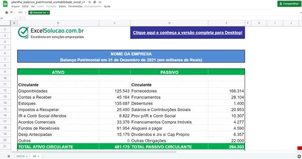 planilha online de balanço patrimonial - google sheets