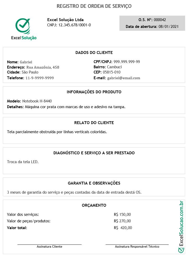 Modelo de Ordem de Serviço em PDF - ordem de serviço preenchida - assistência técnica